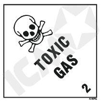 132257 Toxic gas kl. 2 fareseddel  100x100mm