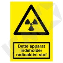 A316PA4 Dette apparat indeholder radioaktivt stof  A4