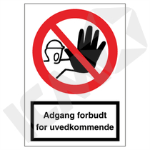 F100PA4 Adgang forbudt for uvedkommende  A4